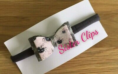 HALLOWEEN Baby Girls glitter grey pink spider medium Bow Soft Elastic headband