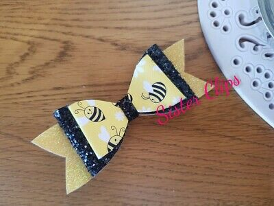 "Girls handmade black yellow cute bumble bee glitter 4"" bow hair clip"
