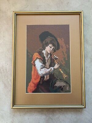 Vintage Framed Wool Tapestry playing Flute young Boy Man Music instrument