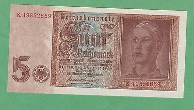 Germany 5 Reichsmark  Note  P-186a   UNCIRCULATED