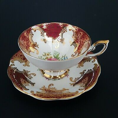 Royal Standard England Tea Cup & Saucer Set Red Gold Trim Roses Wide Mouth