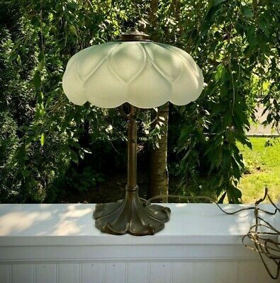 Pilabrasgo RARE Delica Lily Tint Lamp Shade & Base Signed Pittsburgh Lamp Brass