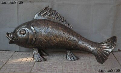 Huge Old Chinese Bronze Copper Feng shui Auspicious Animal Fish Goldfish Statue