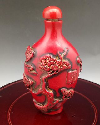 Chinese Exquisite Red Coral Hand Carved Crane pattern Snuff Bottle   L244