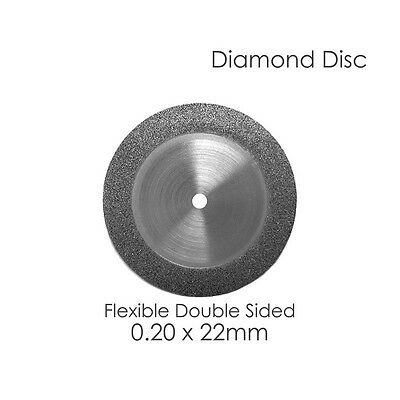 1 Diamond Disc For Your Dental Lab Double Sided Flex .20 x 22mm Disk