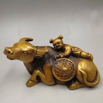 Collectibles Chinese Old copper handmade boy cow Home decoration Statue
