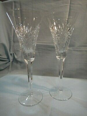Pair of Waterford Crystal Champagne Toasting Flutes w/ Star Burst