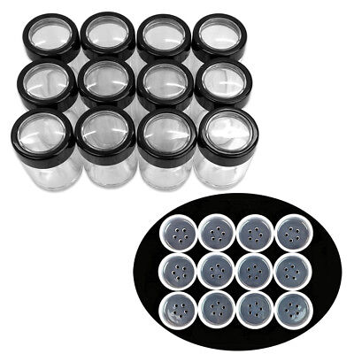 12 Pieces 10G/10ML Acrylic Transparent Cylinder Sifter Container Jar with Clear