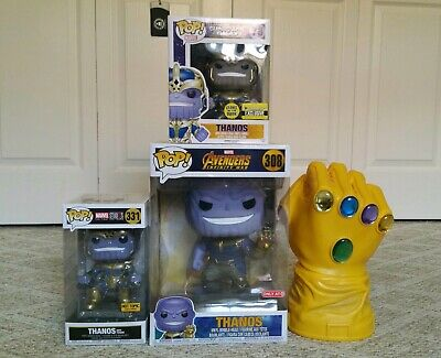 Funko Pop Marvel Avengers Infinity War Thanos LOT 10 Inch Throne GITD+ Gauntlet!
