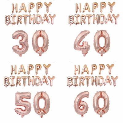 All Age Rose Gold 16/18/21st/30/40/50/60/70th Foil Number Happy Birthday Balloon