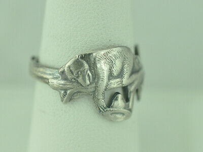 Beautiful 925 Sterling Silver Two Bears Playing Hat Ring