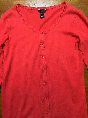 H&M Mama Maternity red cotton Cardigan Size M, EUC long line