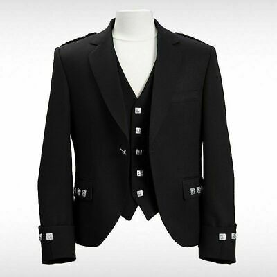 100% WOOL Scottish Argyle Kilt Jacket/ Prince Charlie Jacket