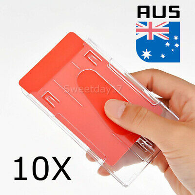 10x Plastic Badge ID Holder Double Side Card Vertical Hard Multi Transparent AU