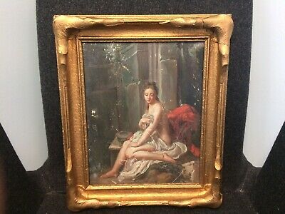 Original 19th Century Antique Oil on Board Painting, Framed, Nude Lady at Baths