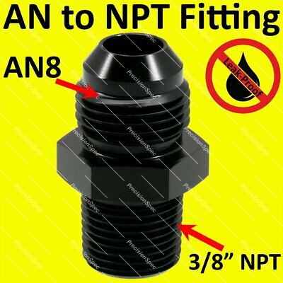 "AN8 8AN Male Flare to 3/8"" NPT Fitting Adapter Aluminium Straight - Black"