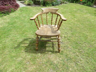 Antique Wooden Captain's Smokers Chair With Arm Rests & Turned Spindles