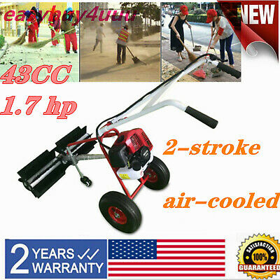 Gas Power Hand Held Sweeper Broom Cleaning Driveway Turf Grass Walk Behind 43Cc