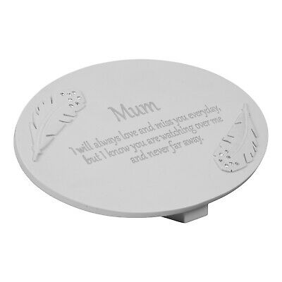 In Loving Memory Mum Memorial Graveside Plaque Angel Feather Grave Gift Ornament