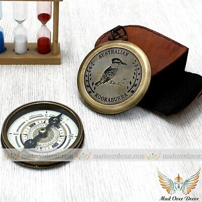 Solid Brass Antique Style Waltzing Matilda Poem Compass With Leather Cover