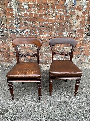 Pair Of Antique Victorian Mahogany Dining Chairs - Two Solid Mahogany Chairs