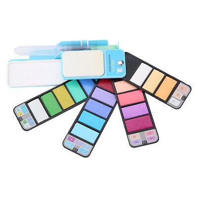 18 Colors Solid Foldable Watercolor Pigment Set with Water Brush Pen Artist NEW