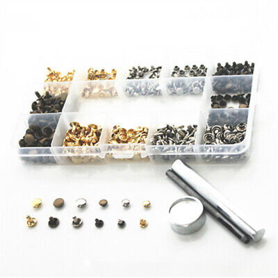 180 Set Leather Rivets Double Cap Rivet Tubular Metal Studs Fixing Tool Good #zs