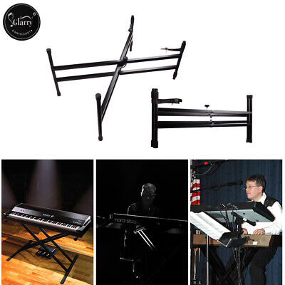 Glarry Heavy Duty Folding Double X Frame Adjustable Keyboard Piano Stand +Straps