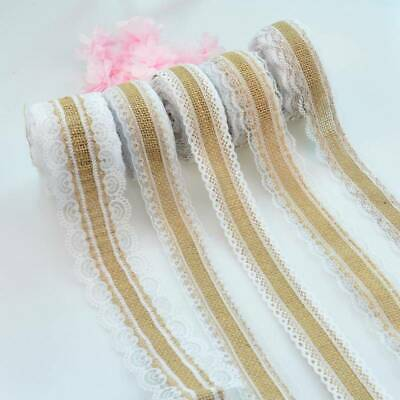 10M/Roll Vintage DIY Jute Burlap Natural Hessian Ribbon Lace Trim Edge Wedding