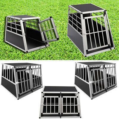 S/L  Aluminium Dog Puppy Pet Transport Crate Cage Car Travel Carrier Kennel Box