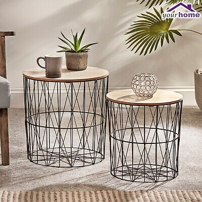 Your Home x2 Nest Basket Coffee Side Tables Living Room Furniture Metal Storage