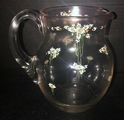 Victorian Antique Glass Lemonade Pitcher With Hand painted Enameled Daisies