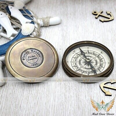 Antique Style Stanley London 1885 Robert Frost Poem Compass Travelling Gift Item