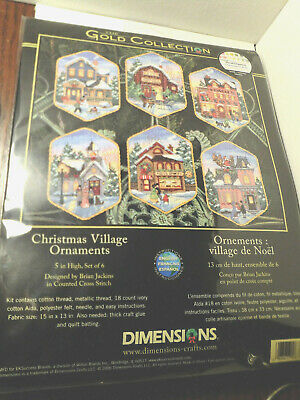 """Dimensions Gold Collection Christmas Village Ornaments Counted Cross St-5/"""" Long"""