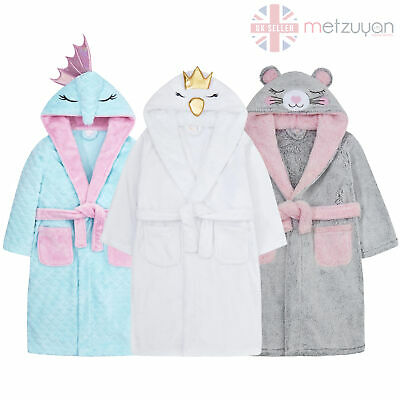 Infant Child Girls Seahorse Swan Mouse Dressing Robe Gown Novelty Nightwear New