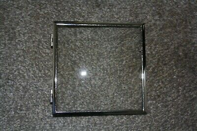 """Vintage 51/2"""" Smiths Clock hinged square chrome bezel with glass parts/spares"""