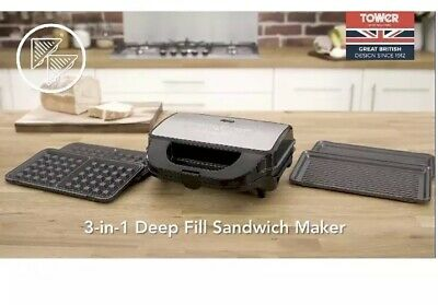 Tower Sandwich Maker 3-in-1 Snack Maker 3 Non-Stick Detachable Cooking Plates