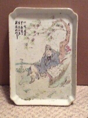 Antique Chinese Republic Porcelain Calligraphy Tray