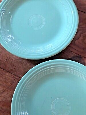 "Fiesta Turquoise Light Green Dinner Plates 10.5"" Lead Free - Set of 2"