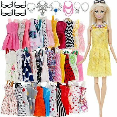 Barbie Doll Clothes 20 Pcs/ Lot Fashion Outfit Gown Mini Dress And Accessories