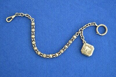 Antique Hallmarked Solid Silver French Pocket Watch Chain & Fob - albertina