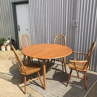 Mid-Century Ercol Drop Leaf Dining Table & Four Chairs