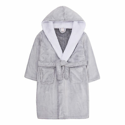 Teens Junior Kids Girls Dressing Gown Snuggle Fleece Cosy Robe Grey Sizes 7-13