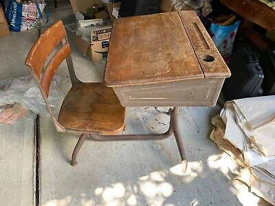 "Vintage Old School Chair Youth Wooden Student Desk Kids Furniture 28.5"" Height"