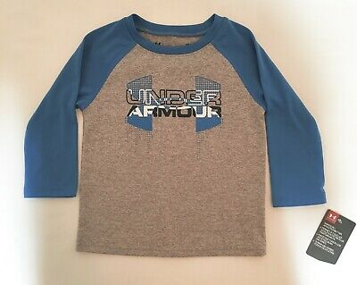 Under Armour Boys Long Sleeve Tee Baby Size 12 Months Gray Blue Tshirt New