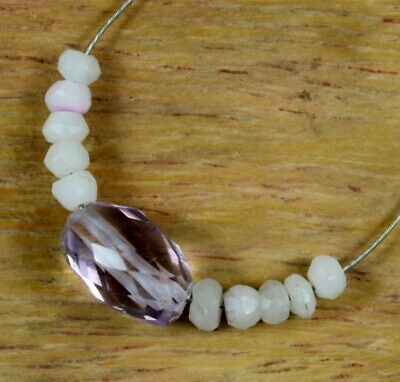 Natural 4.70cts White Opal Amethyst Faceted Rondelle Oval Loose Beads 11pcs