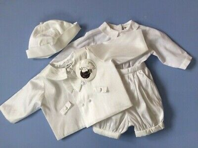 Designer SARAH LOUISE Baby Boy 4 piece Satin/Cotton Christening Outfit 3 Months