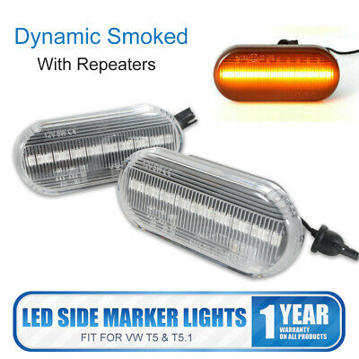 Pair of LED Side Marker signal Light Indicators Repeaters For VW Transporter T5