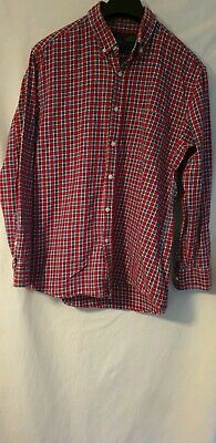 Mens Red Flannel Charles Wilson Large Shirt 100% Cotton long Sleeve