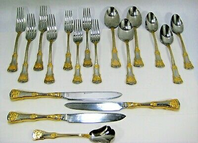 Royal Albert Old Country Roses 18 Pc Cutlery Knife Fork Spoon Salad Soup Sugar